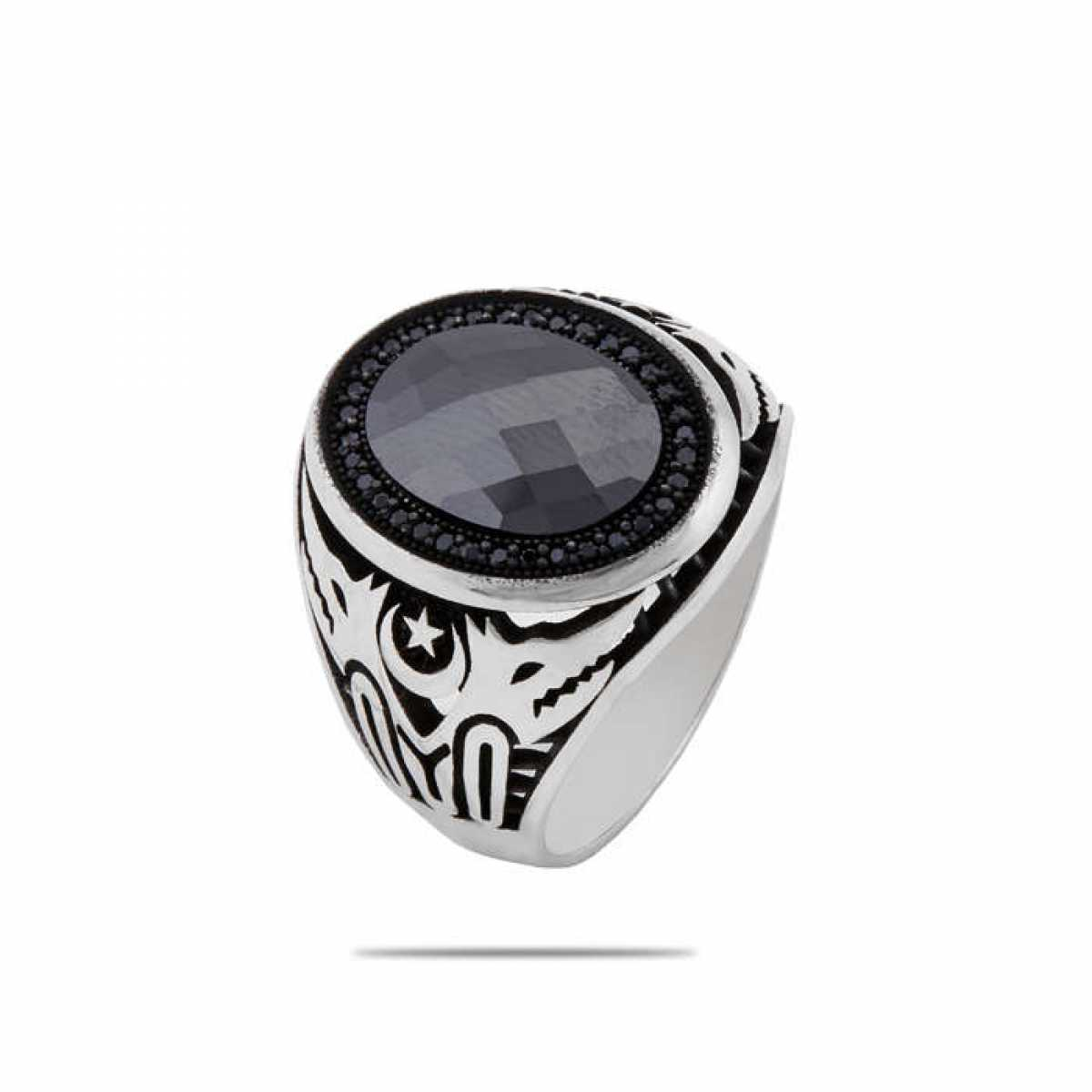 Silver Shine 92.5 Sterling Silver  Trendy Black Diamond Ring  for Mens