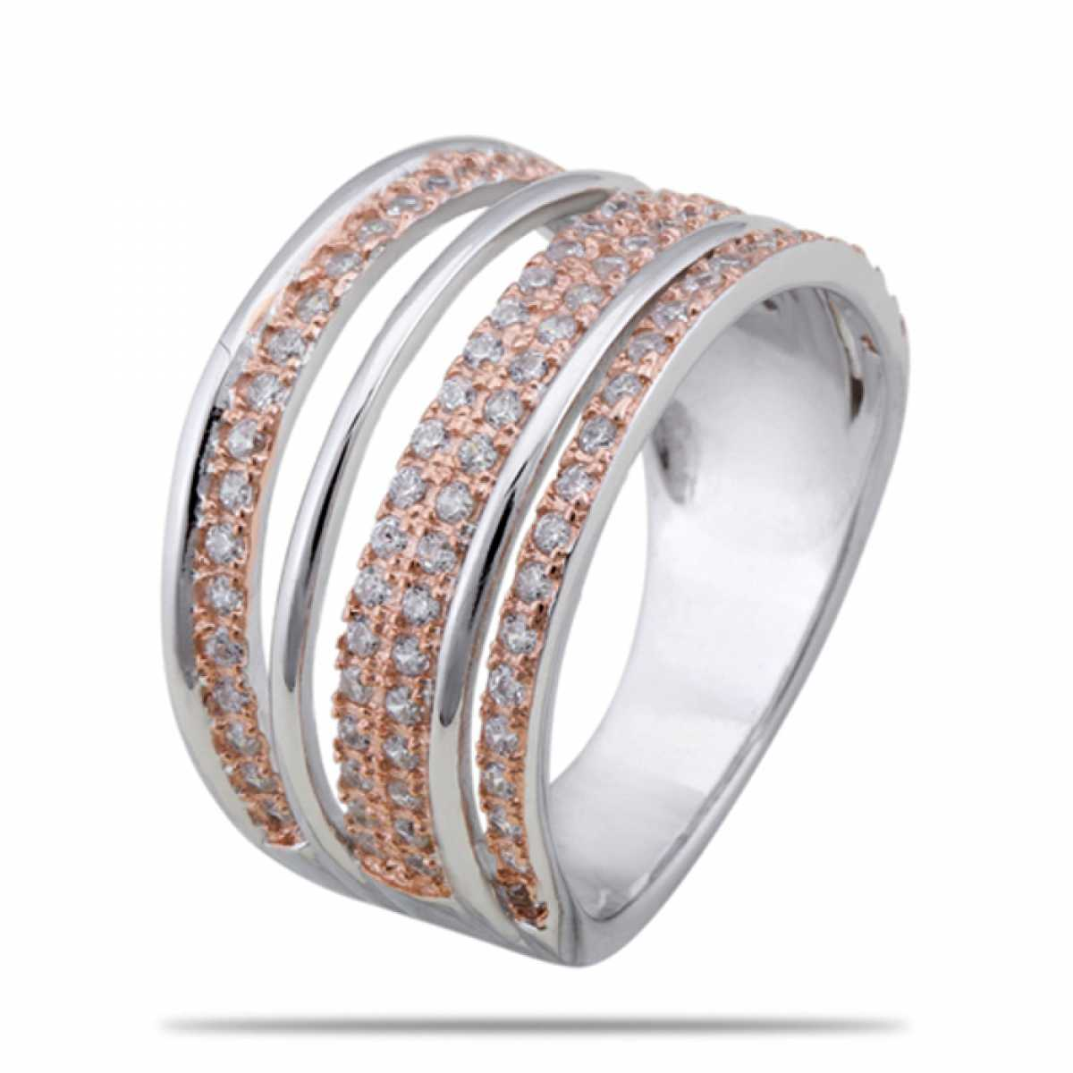 Shine With Rose Gold Silver Ring