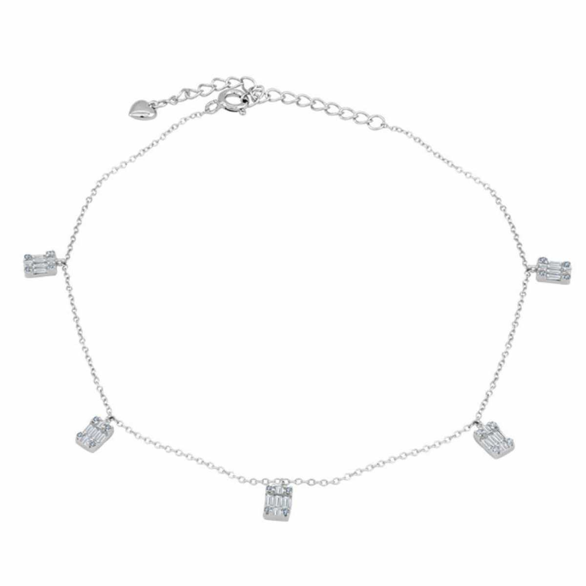 Stylish Square Diamond Dangle Anklet