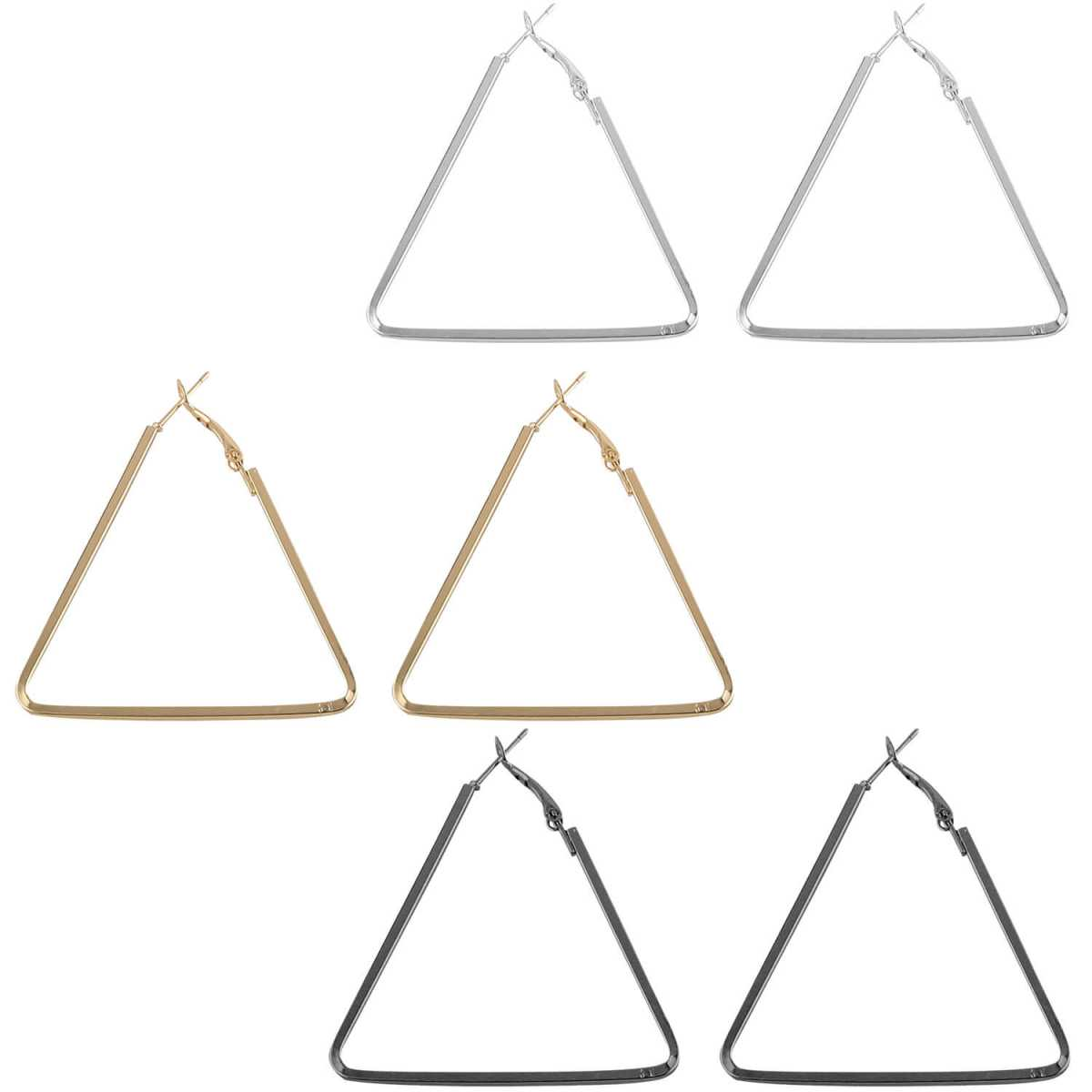 SILVER SHINE Attractive Stylish Triangle Shape Earring Combo For Women Girl.