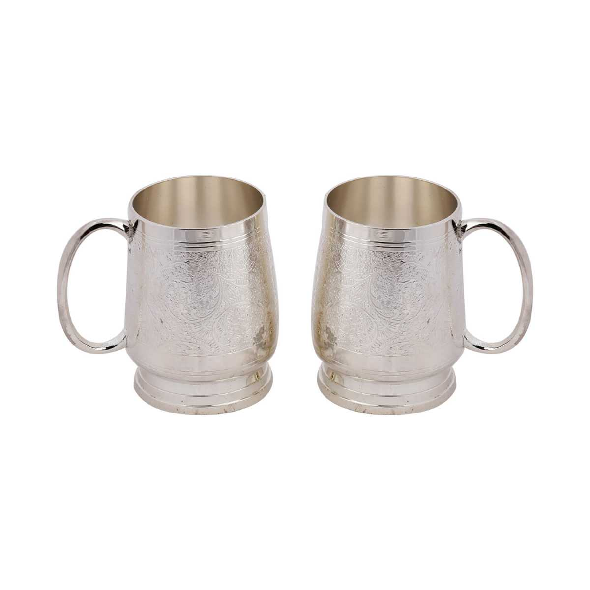 Silver Shine Silver Plated Designer Coffee Mugs/Beer mugs set of 2