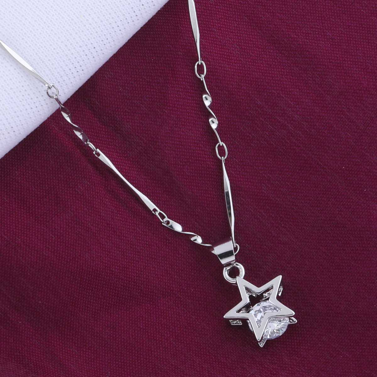 Silver Plated Chain  With Fancy Star Diamond Pendant For Women