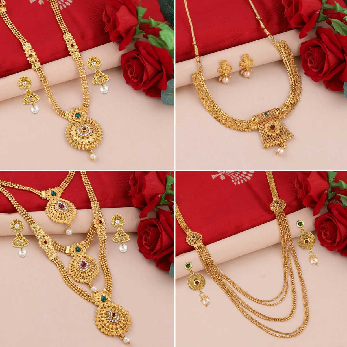 Gold Plated Traditional Designer Long Set Combo For Women