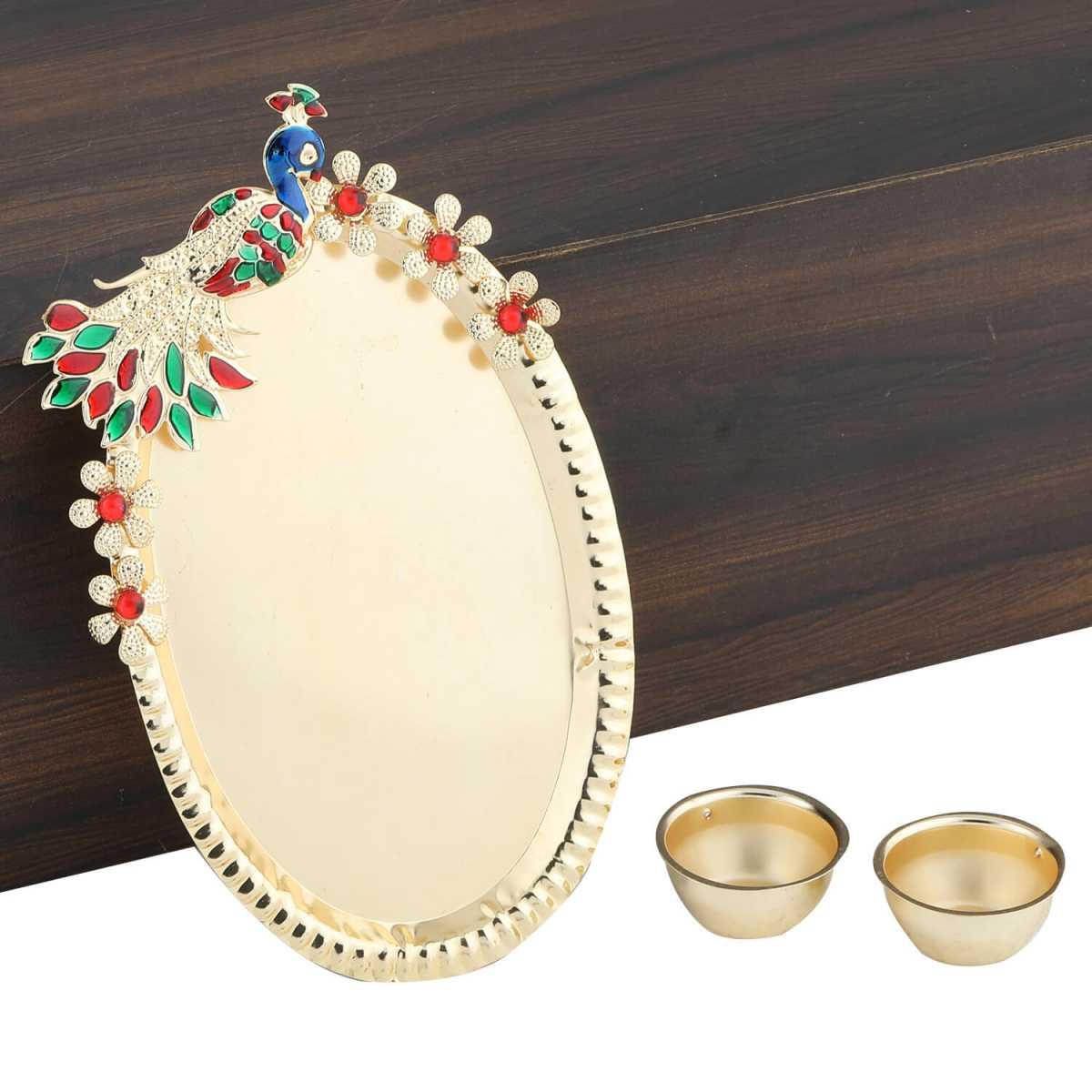 Silver Shine Gold Plated Designer-Ethanic peacock Design Kankavati pooja Thali