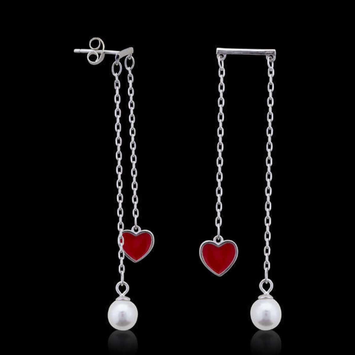 Read Love Heart With Pearl Silver Earring
