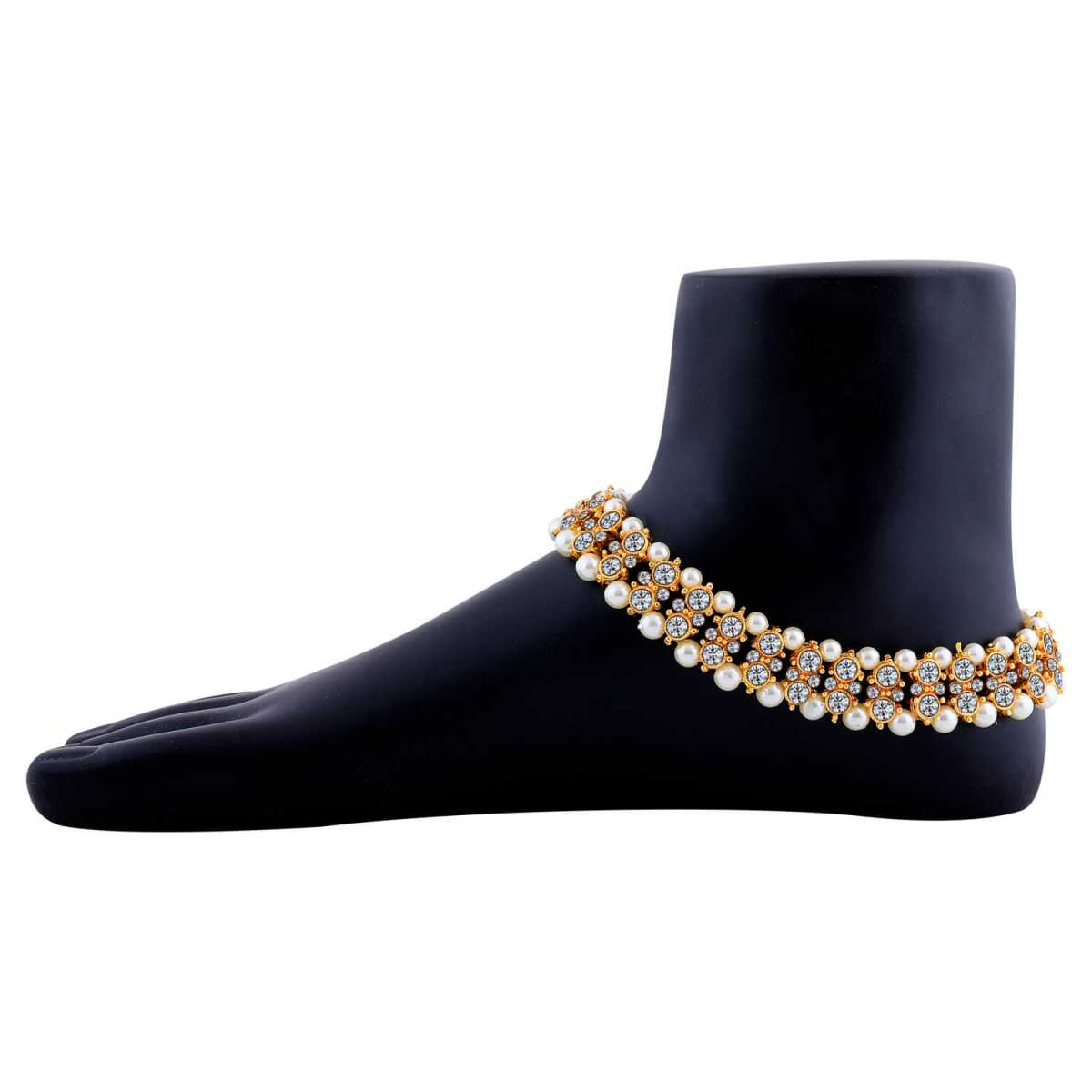 SILVER SHINE Charm designer gold Plated Anklet For Women And Girl.