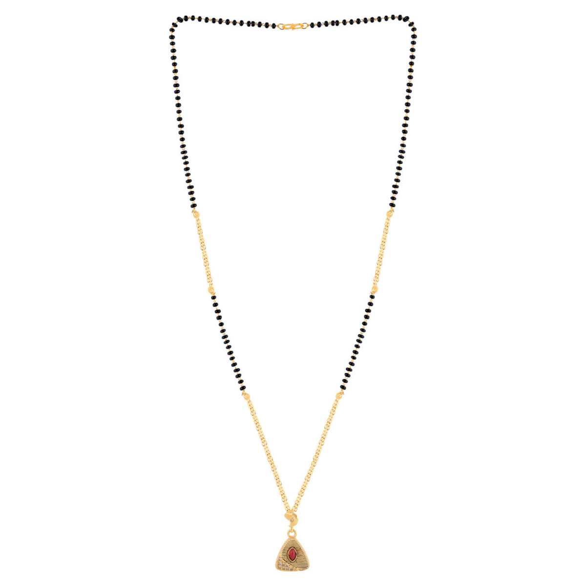 SILVER SHINE Gold Plated Triangle Shape Pandent Daily Wear Mangalsutra For Women