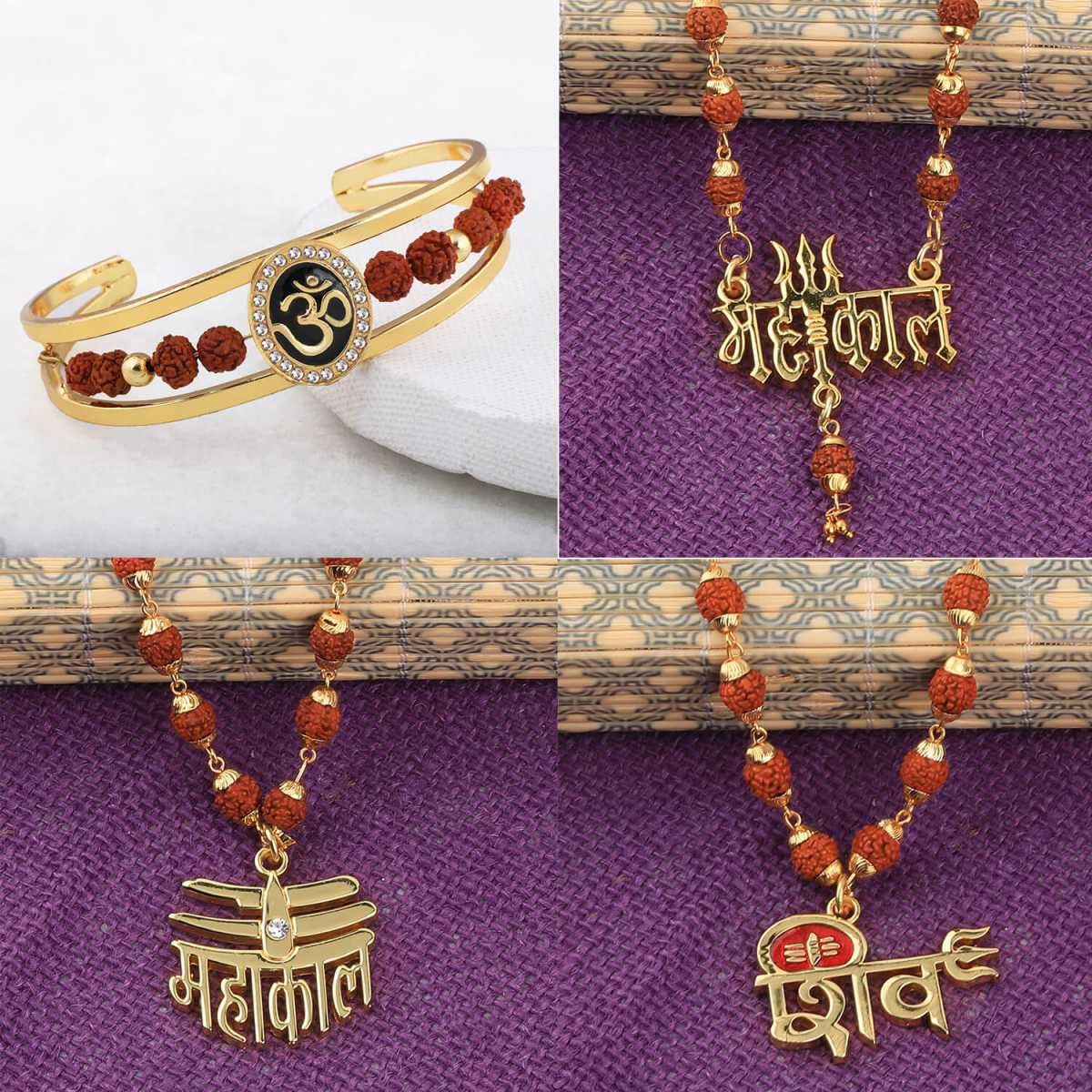 SILVER SHINE Gold Plated Traditional Combo Rudraksh Kada And  Mala Pendant for Men and Women-set 4