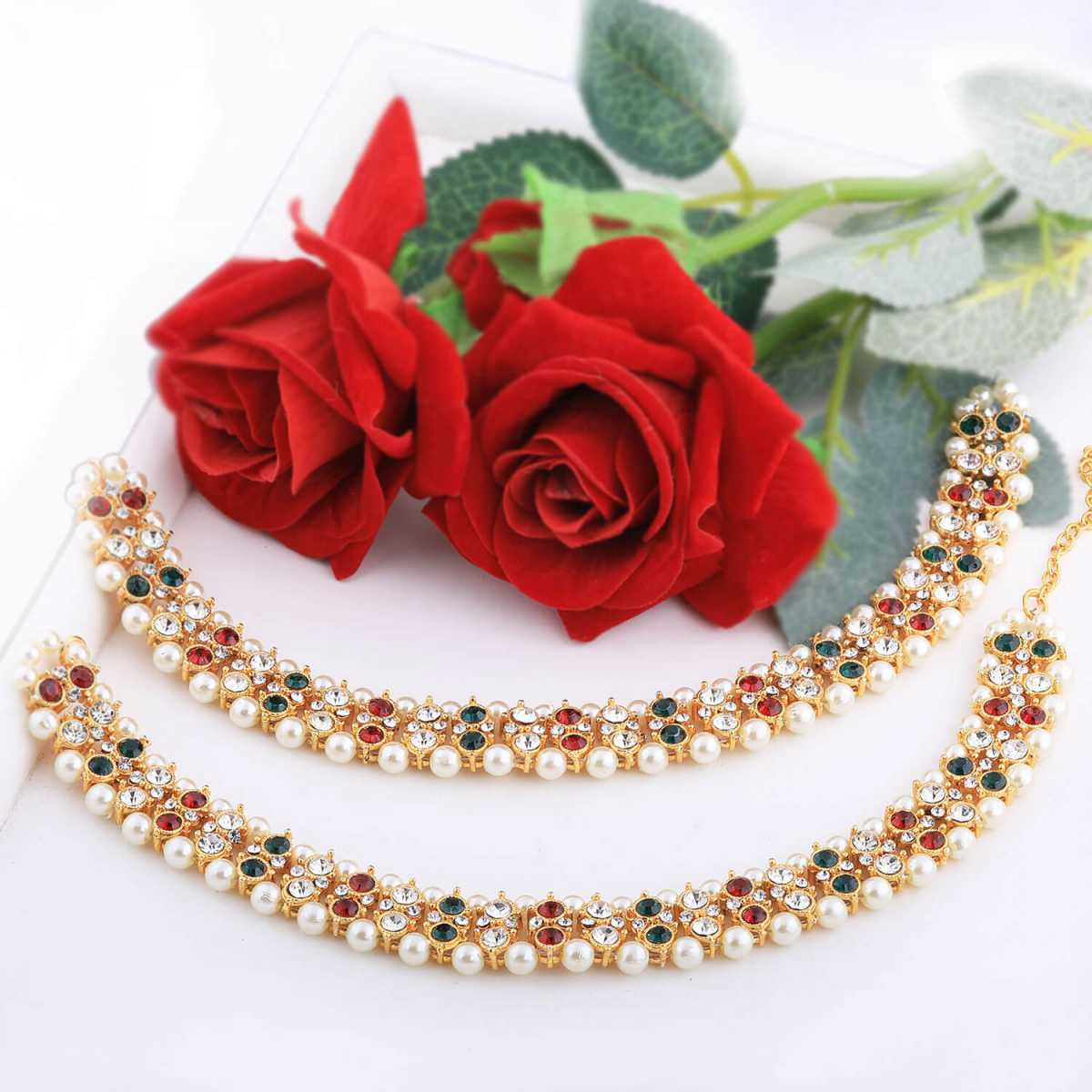 SILVER SHINE Gold plated Attractive Designer Multi Color kundan Anklet for Women And Girl