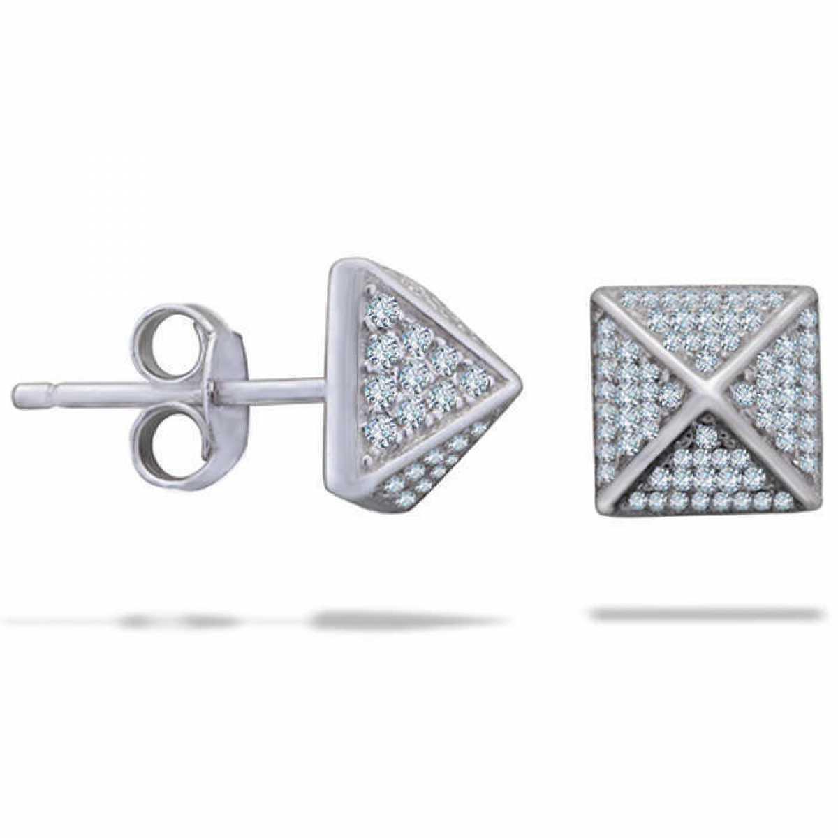 Tiny Silver  Stud Pyramid Earring