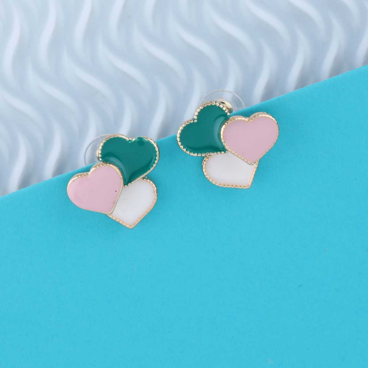 SILVER SHINE Delicated Charm Heart Shape Studs earring For girl Women