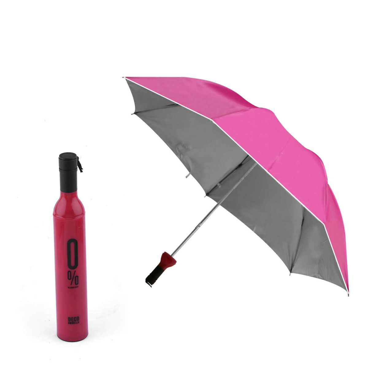 Silver Shine Products Double Layer Folding Portable Wine Bottle Umbrella with Bottle Cover for UV Protection & Rain (Assorted Color)