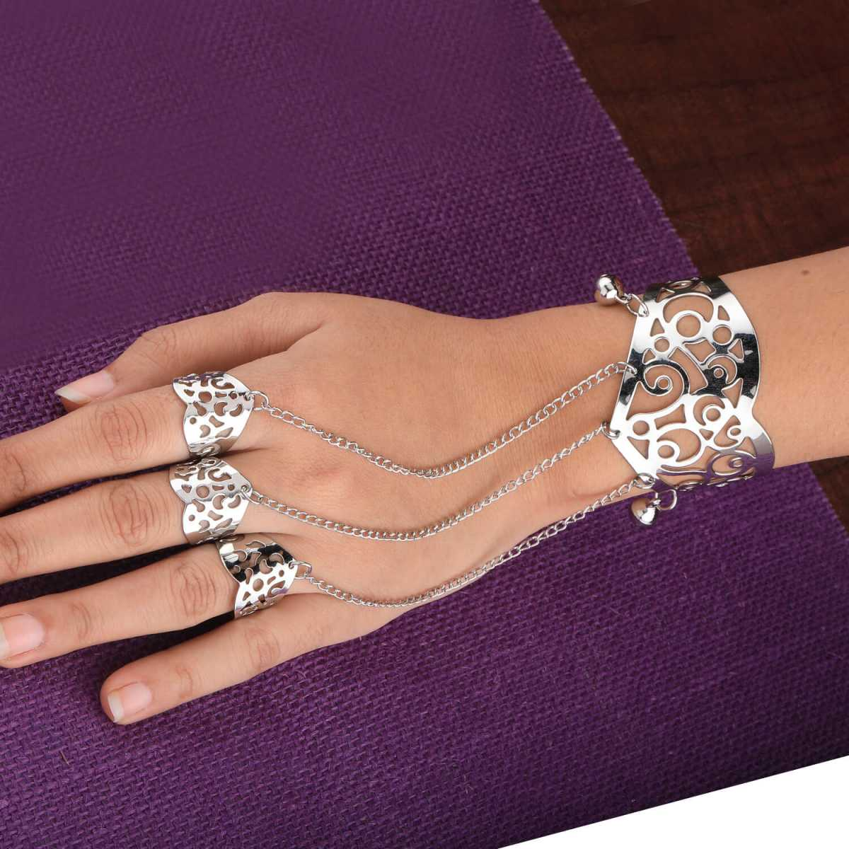 SILVER SHINE Silver Slave Chain Hand Harness Three Finger Ring Bracelet For Women