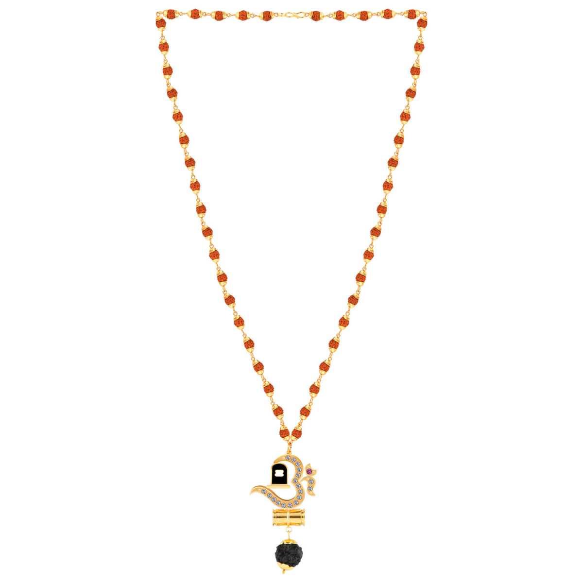 SILVER SHINE Traditional Rudraksh Mala Om Shivling Gold Pendant for Men and Women