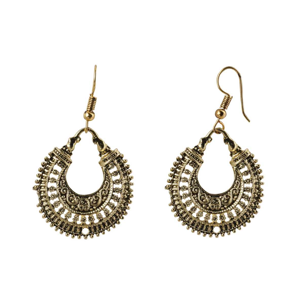 Silver Shine Trendy Sharp Edge Golden Chandbali  Earrings for Women