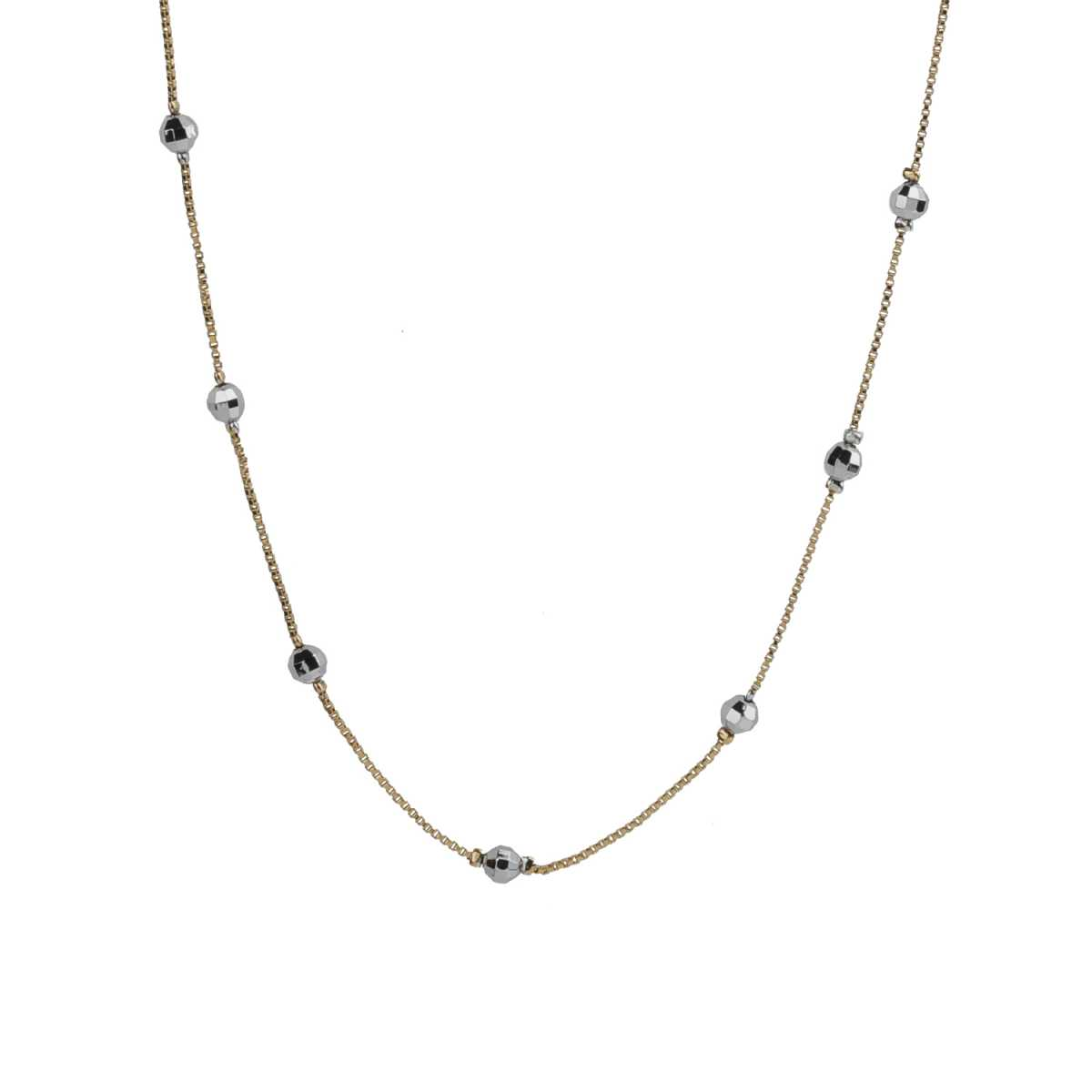Facinating Gold 18 Inch Chain With Metallic Crystal Ball Pretty Look For Girls And Women Jewellery