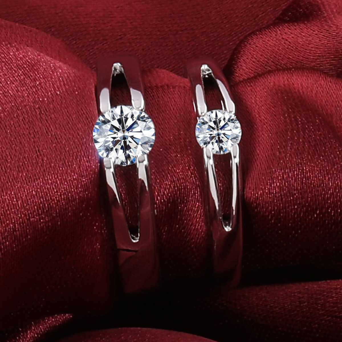 Silver Shine Silver Plated Solitaire Adjustable Couple ring  for Men and Women,Couple ring for Girls and Boys-2 pieces