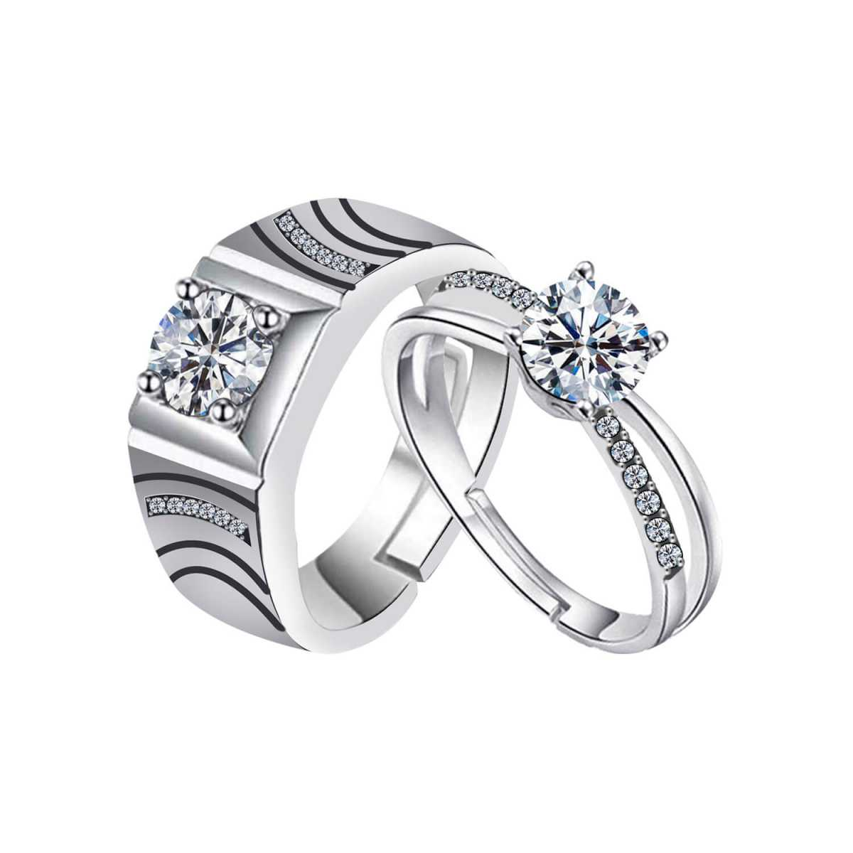 SILVERSHINE,silver plated ring courageous look for his and fairly look ring for her adjustable couple ring for men and women.
