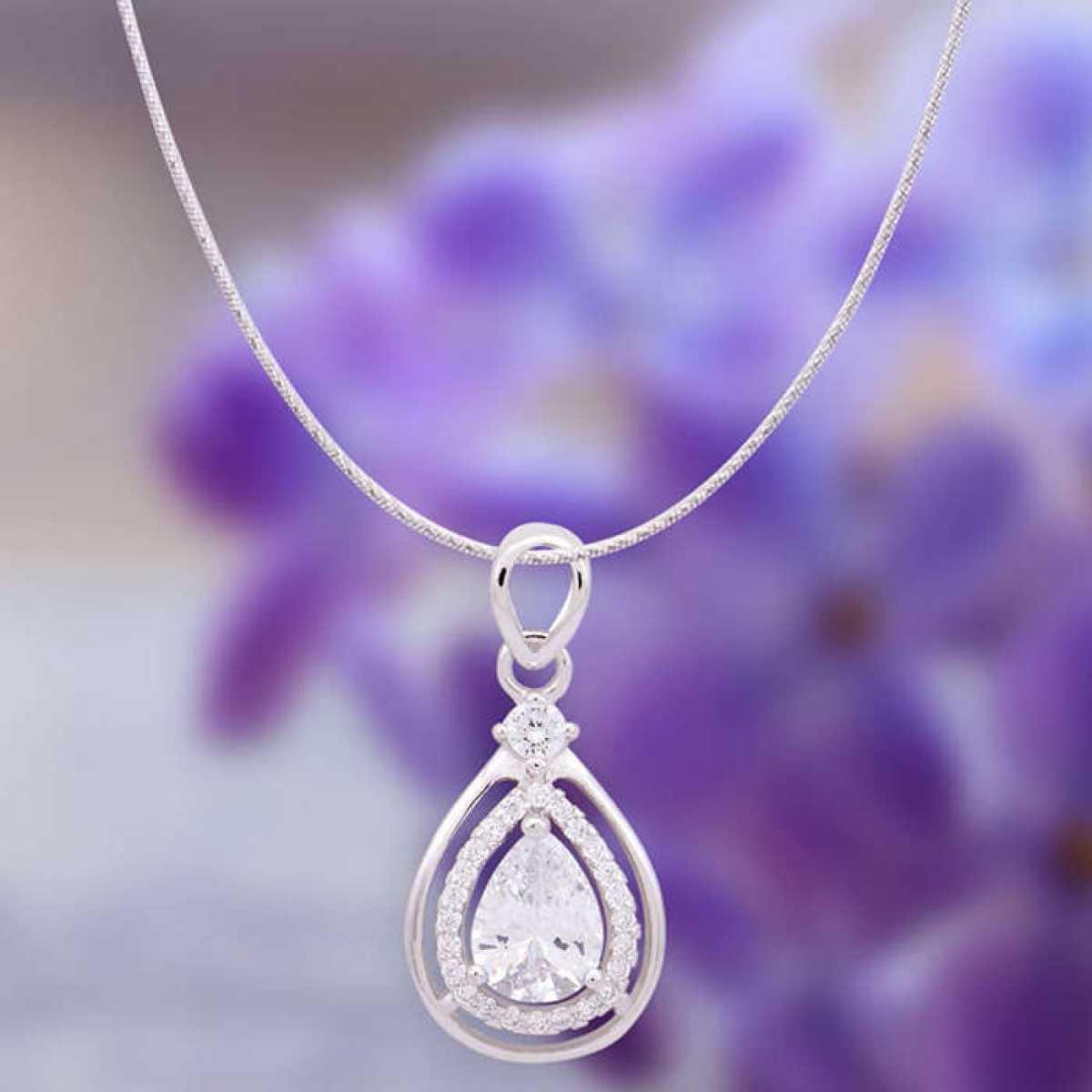 Diamond Drop Pendant Set