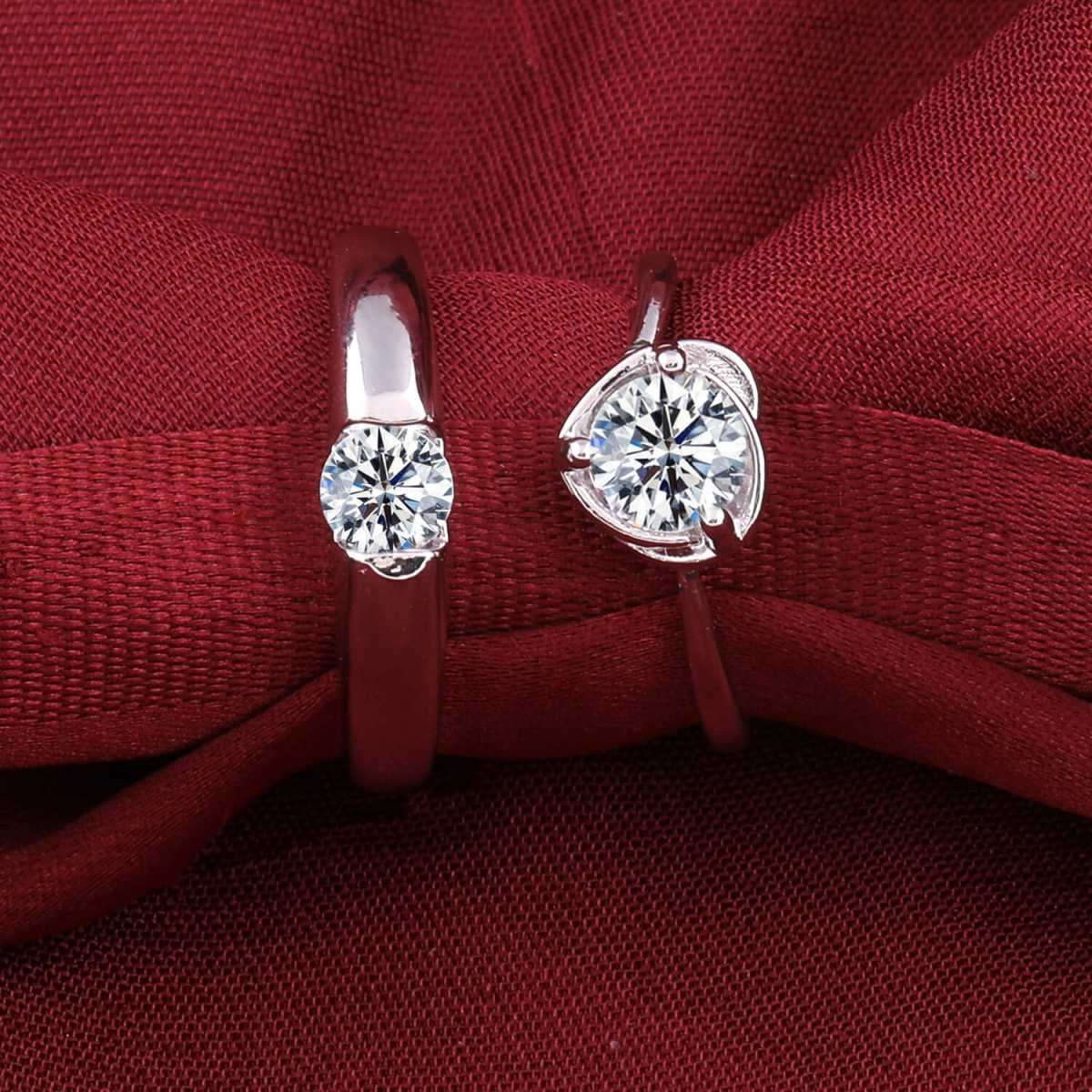 Silverplated  Exclusive  Adjustable proposal couple ring For Men And Women Jewellery