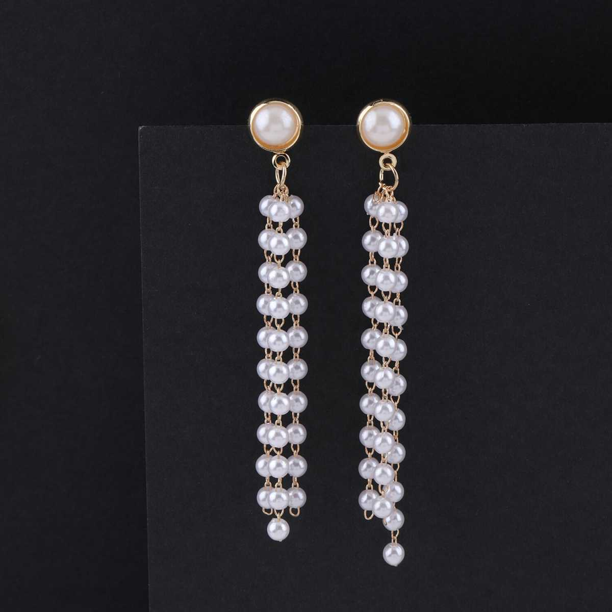 SILVER SHINE Party Wear Stylish Pearl hanging Dangle Earring For Women Girl