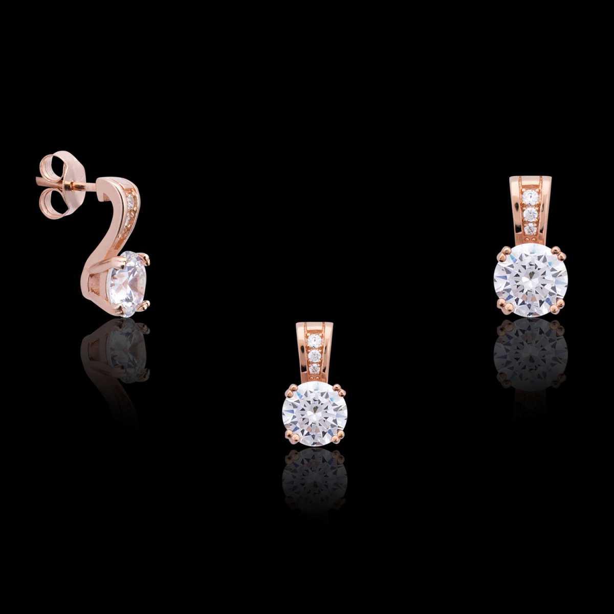 Rose Gold Single Diamond Pendant Set