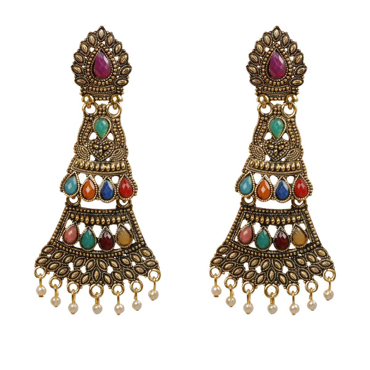 Silver Shine Appealing Multicolor Studded Unique Shape Earrings