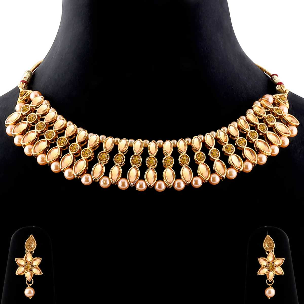 Traditional Designer Gold Plated Diamond Studded Kundan Necklace Set For Women Jewellery