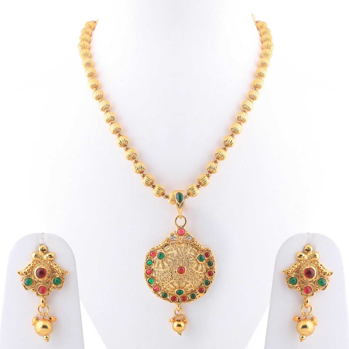 SILVERSHINE Goldplated Designer Traditional Diamond  Necklace set  for women jewellery