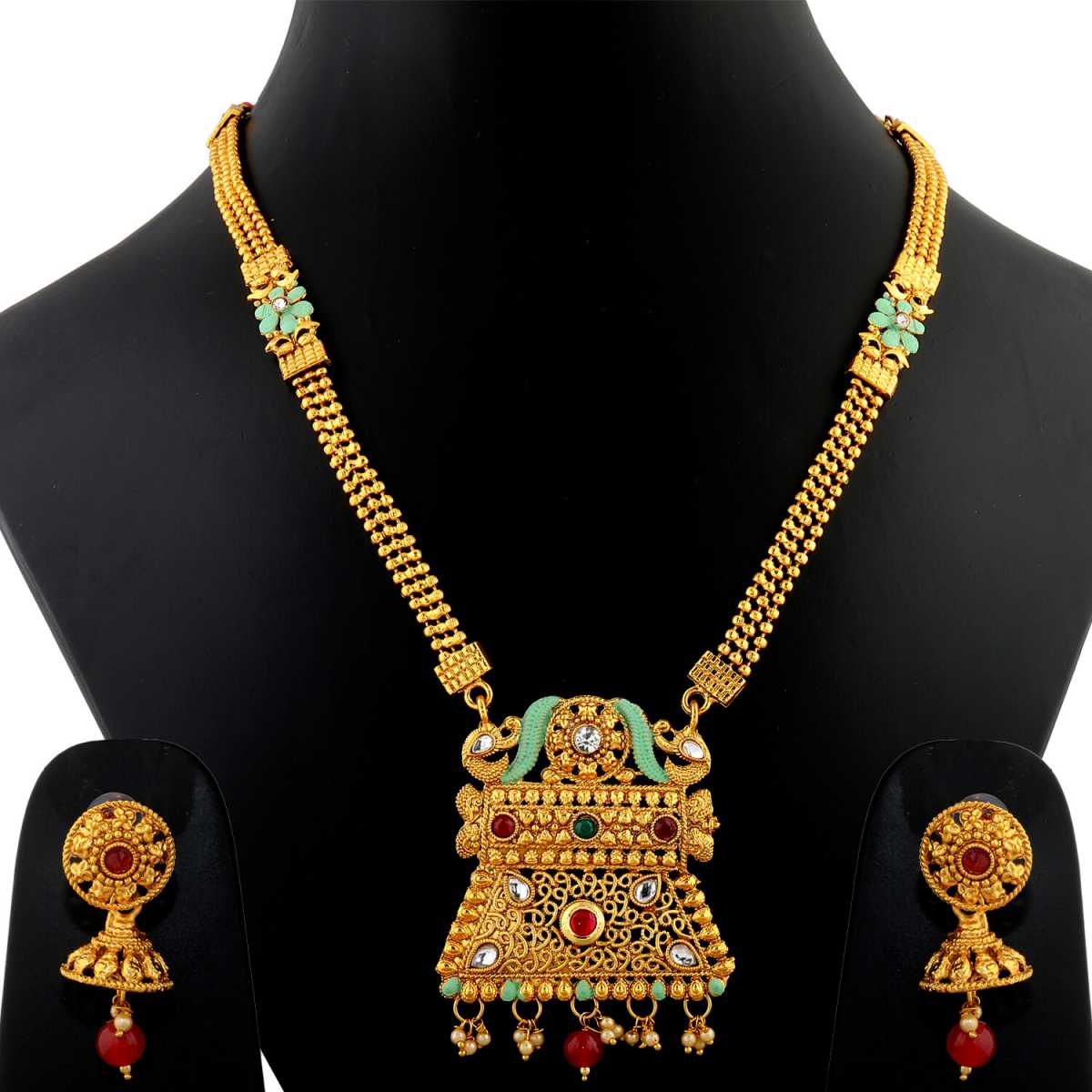 Silver Shine Exclusive Gold Plated Traditonal Three Line Chain Red And Green Stone Studded Antique Design Ethnic Long Necklace Set  Jewellery For Women And Girls