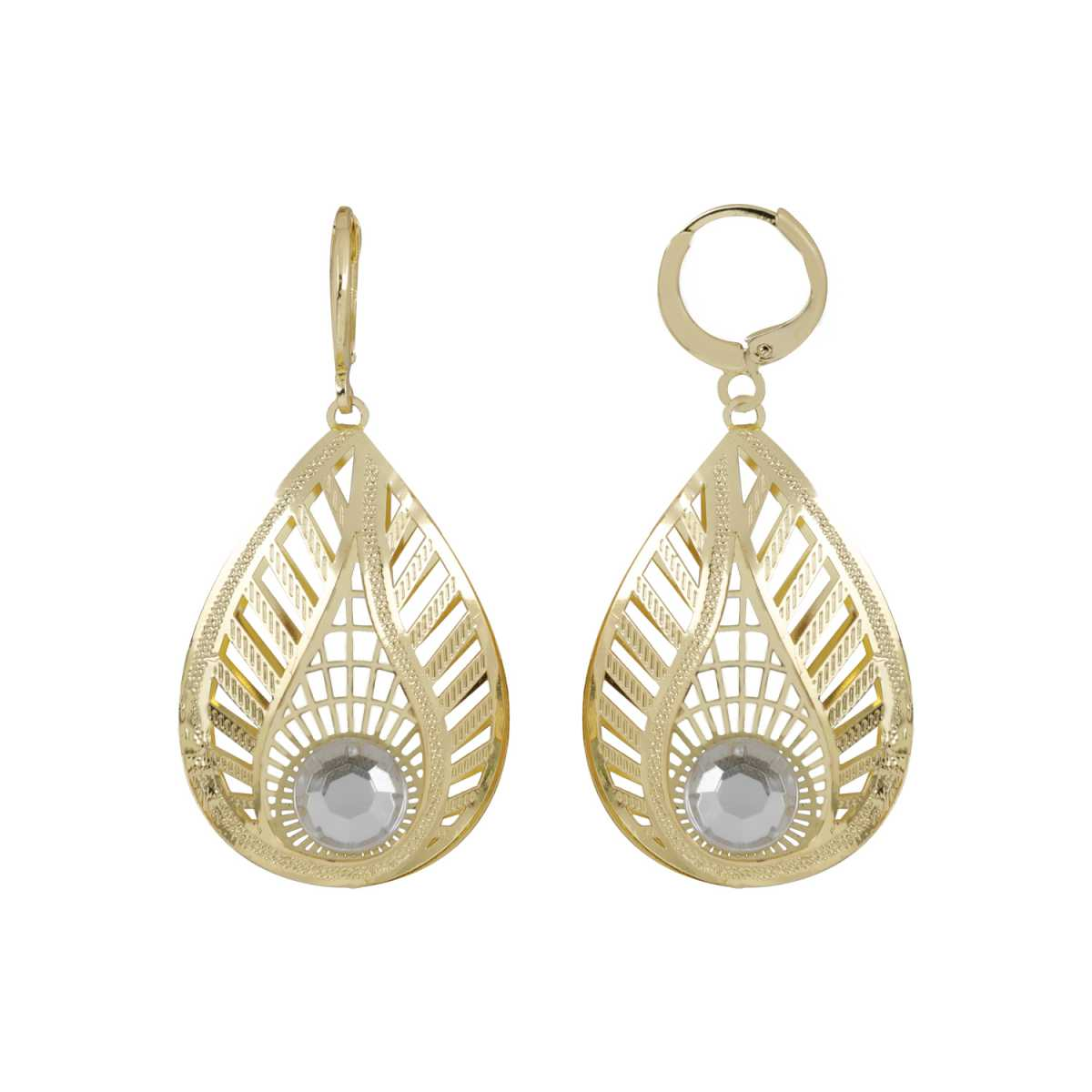 Silver Shine Eye-Catching Golden Leaf Shape Clip On Bali Earring for Women