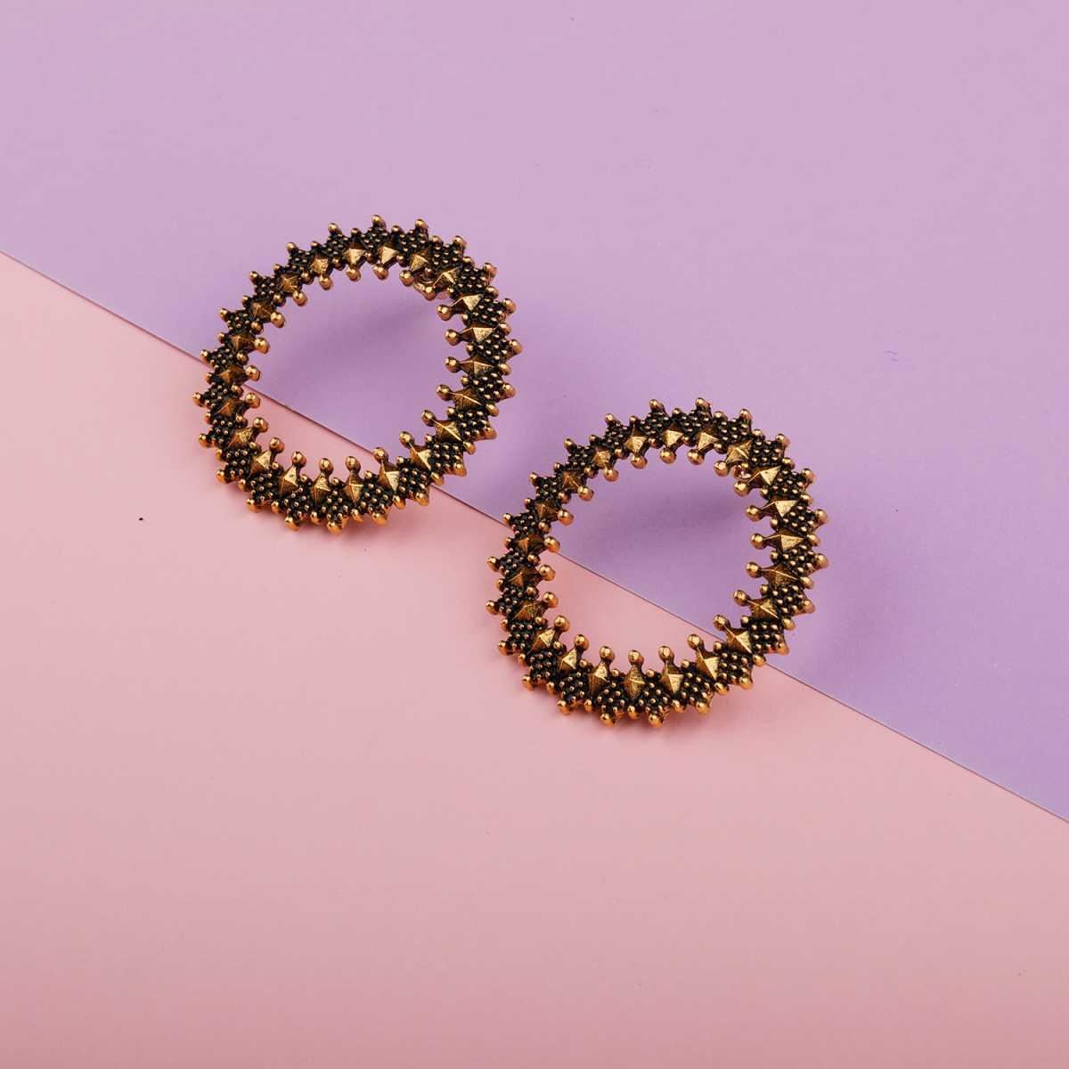 Silver Shine Glitzy Gold Studs Earrings for Women