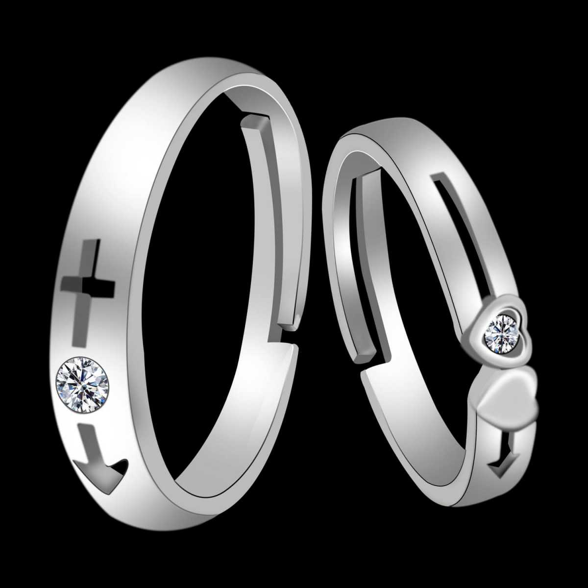 Silverplated Incradible  Solitaire His and Her Adjustable proposal couple ring For Men And Women Jewellery