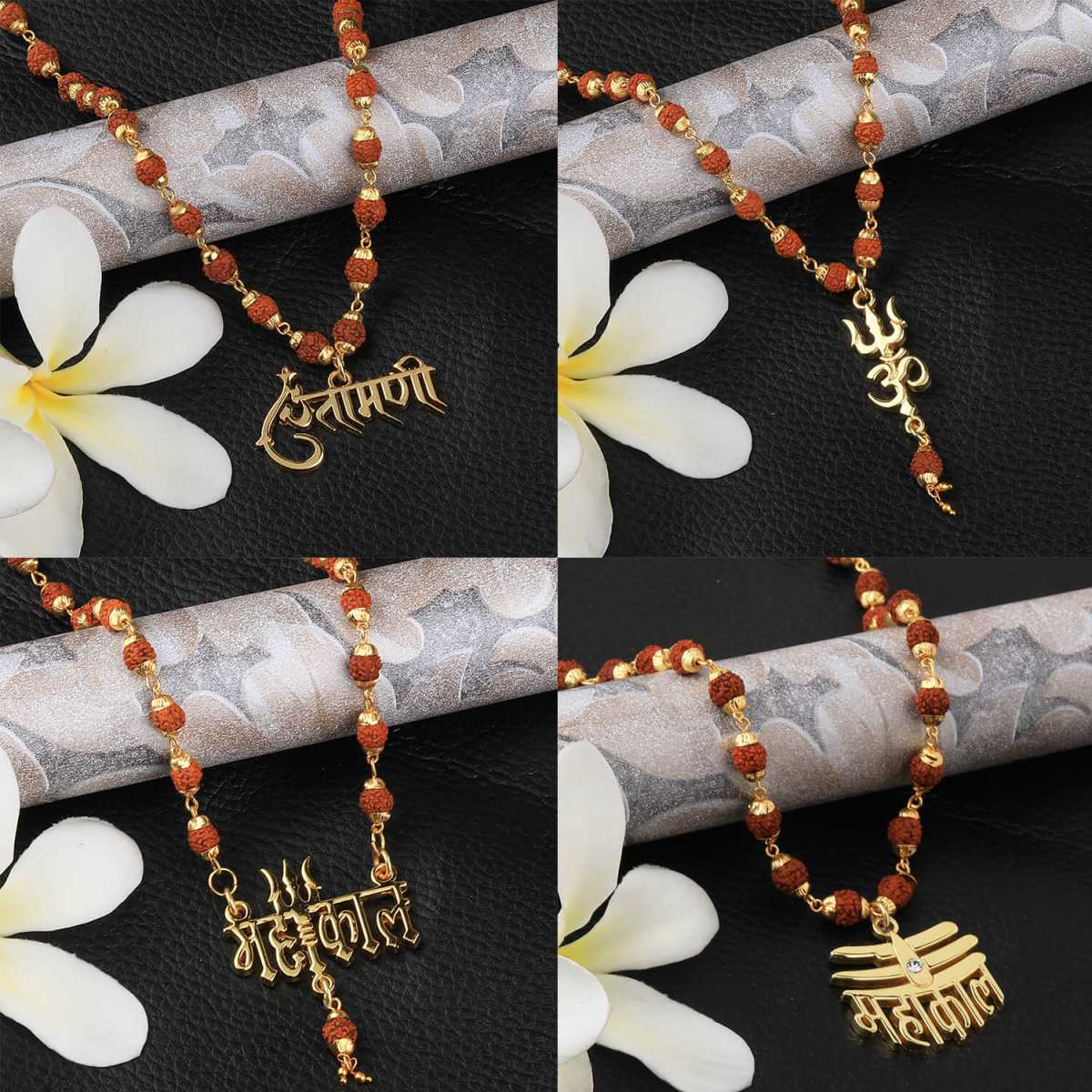 SILVER SHINE Gold Plated Traditional Combo set  Rudraksh Mala Pendant for Men and Women-set 4
