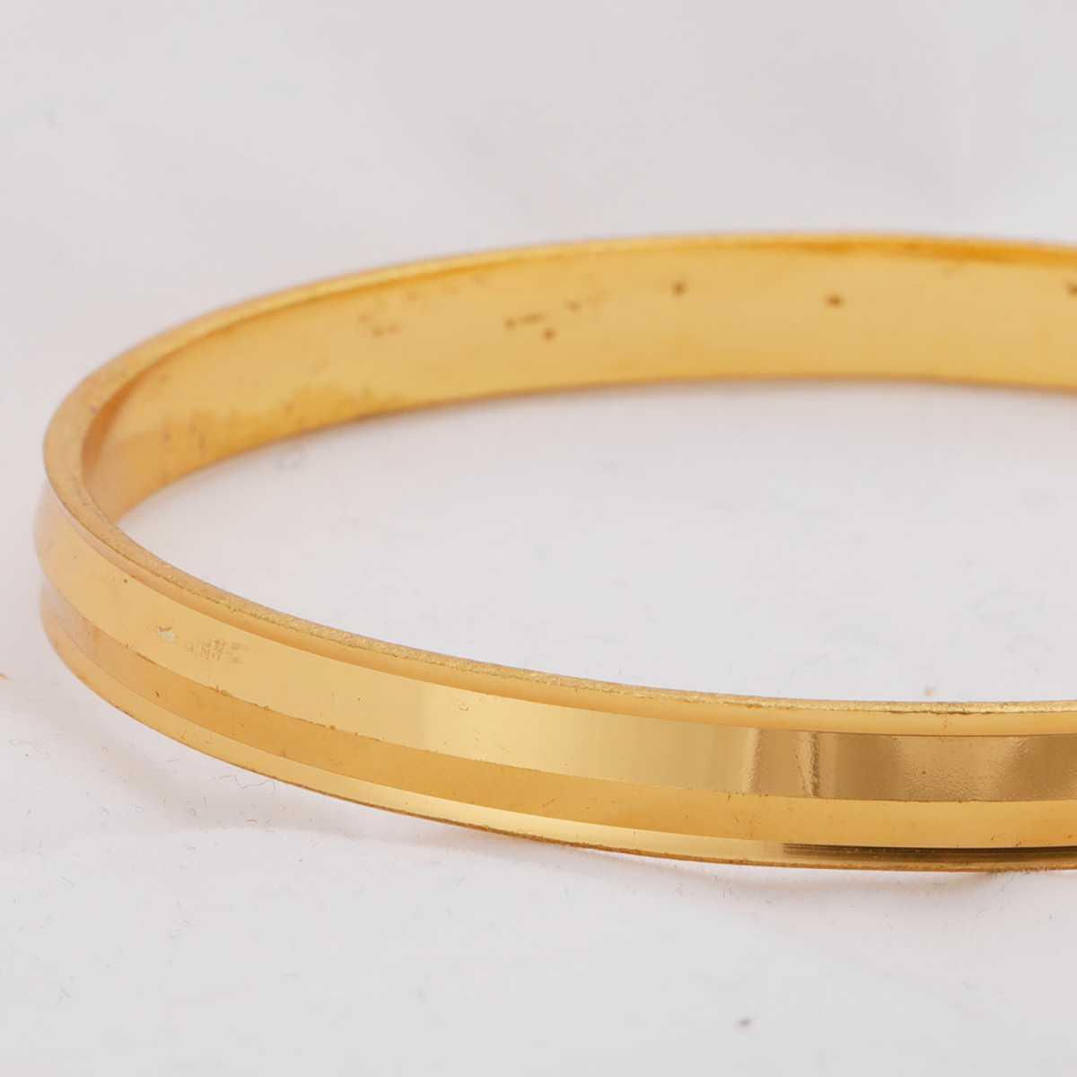 Silver Shine Gold colour Plated Metal Premium Textured Glossy Finish Punjabi kada Bangle Bracelet for Boys and Mens.