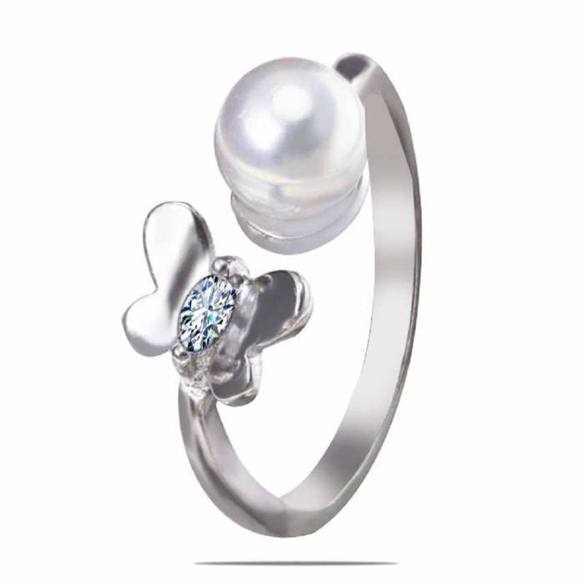 Pearl butterfly sterling silver ring