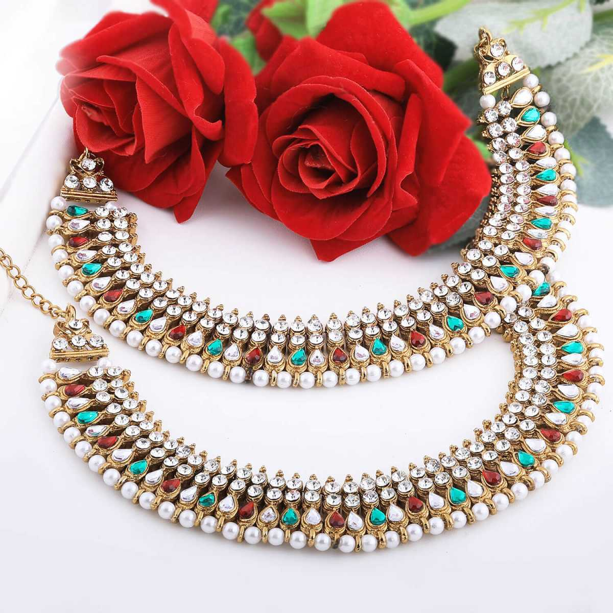 SILVER SHINE Gold plated Traditional Multi Color kundan Anklet for Women And Girl