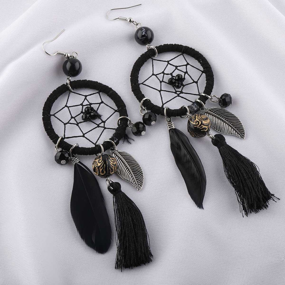 Silver Shine Feather Design Black Colour Party Wear Earring For Girls and Women Jewellery