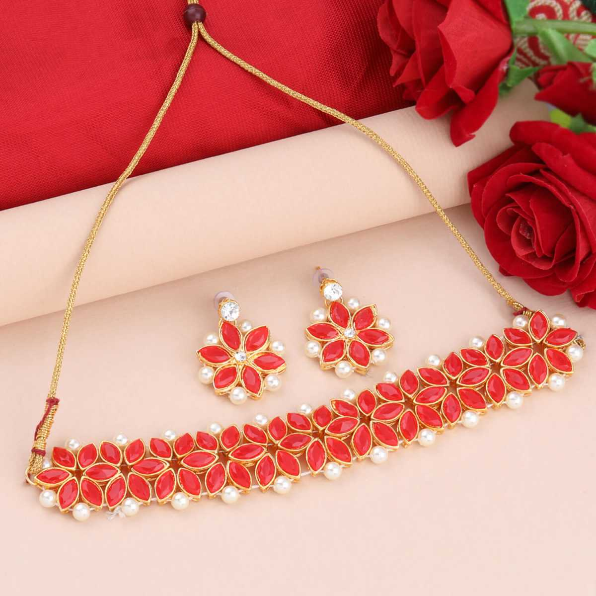SILVER SHINE Gold Plated Exclusive Red Stone Choker Set For Girls And Women
