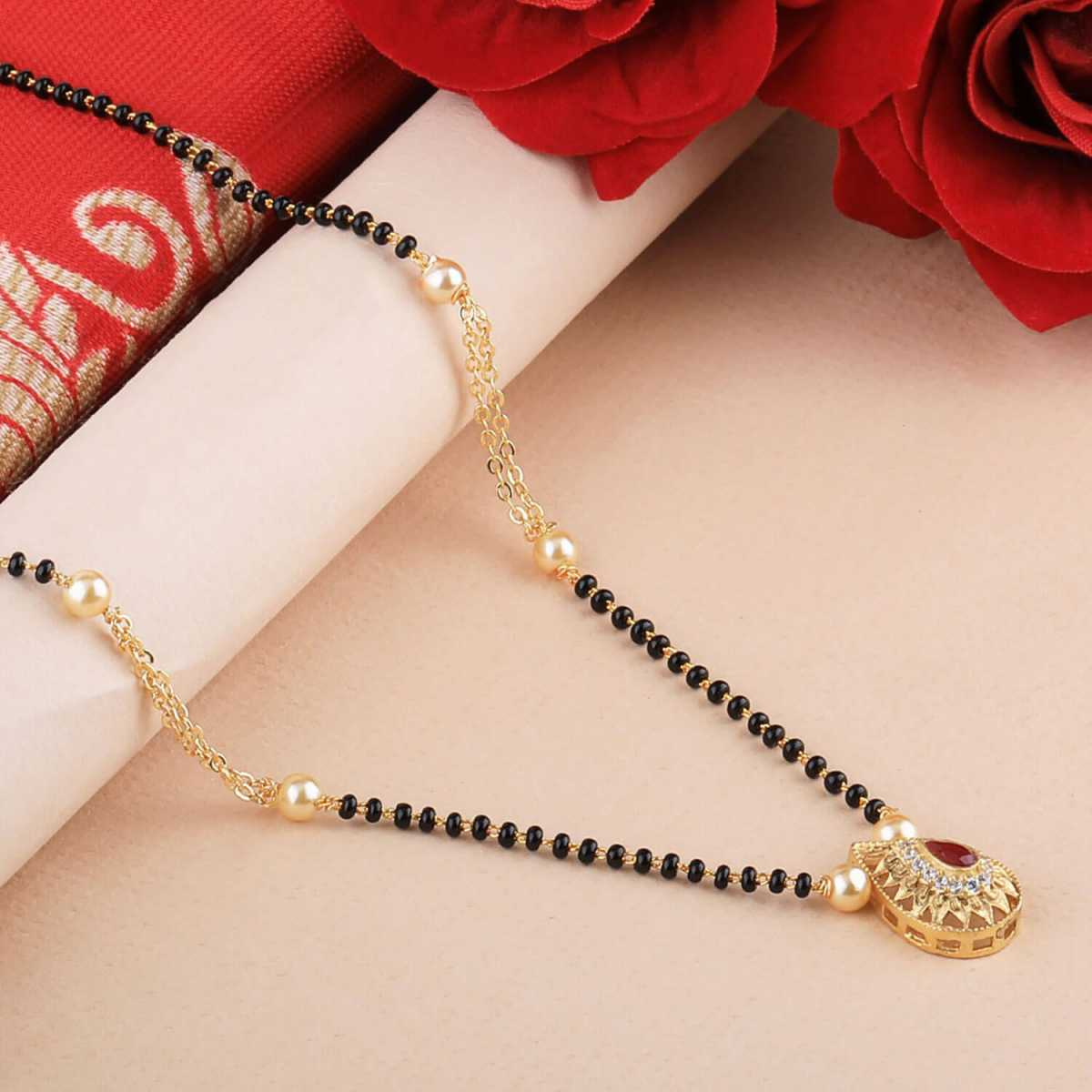 SILVER SHINE Gold Plated Charm Latest Designer Mangalsutra For Women