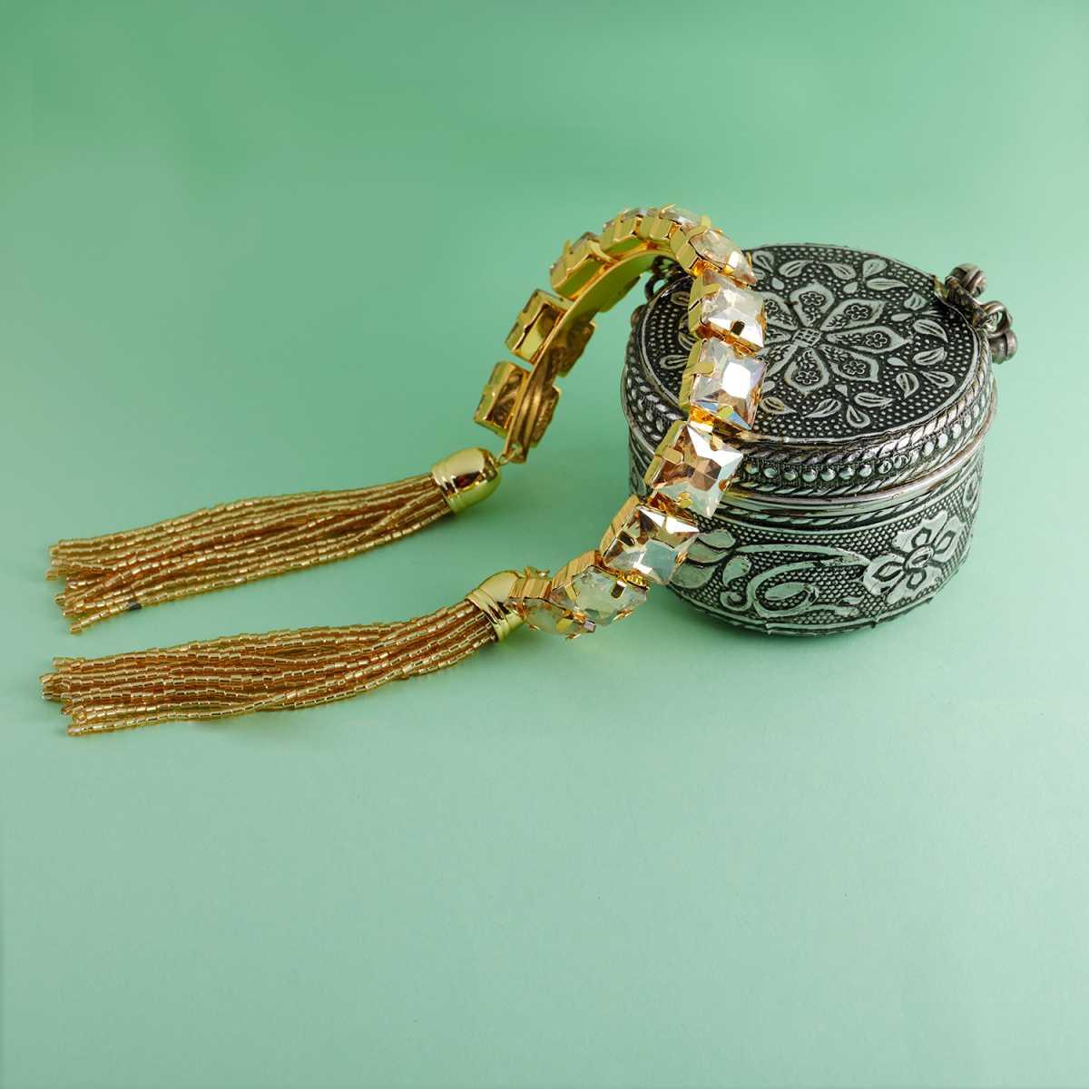 Elegant Gold Colour Stone Harmony Coff And Kada Bracelet For Girls And Women