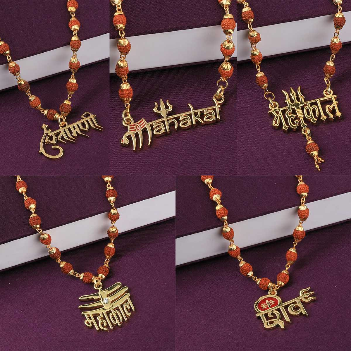 SILVER SHINE Gold Plated Attractive Combo Rudraksh Mala Pendant for Men and Women Set-5