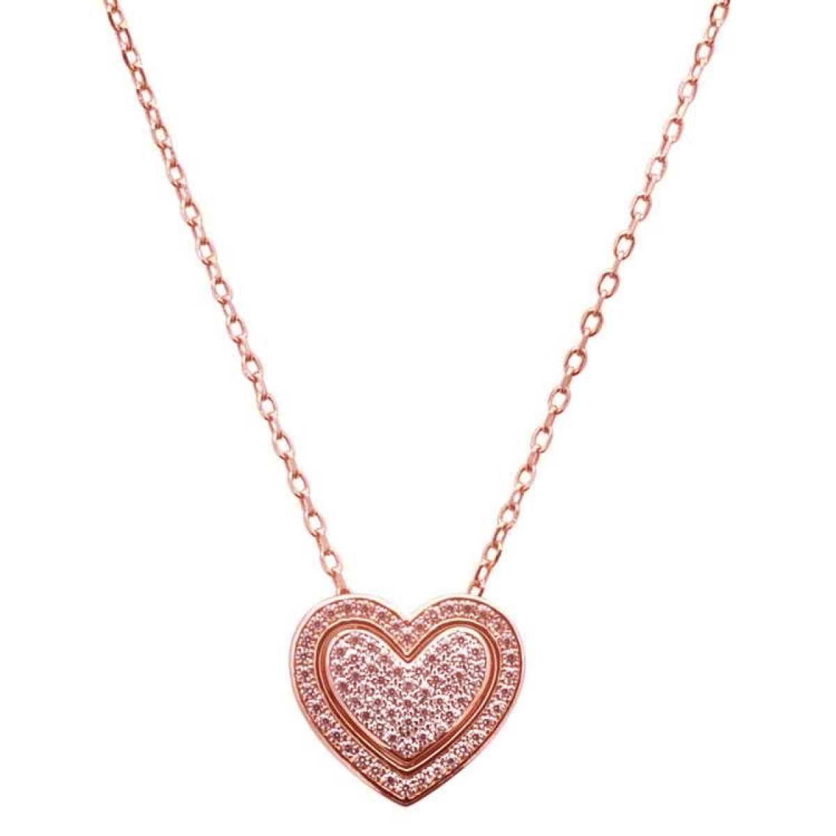 Rose Gold Diamond Heart  Chain