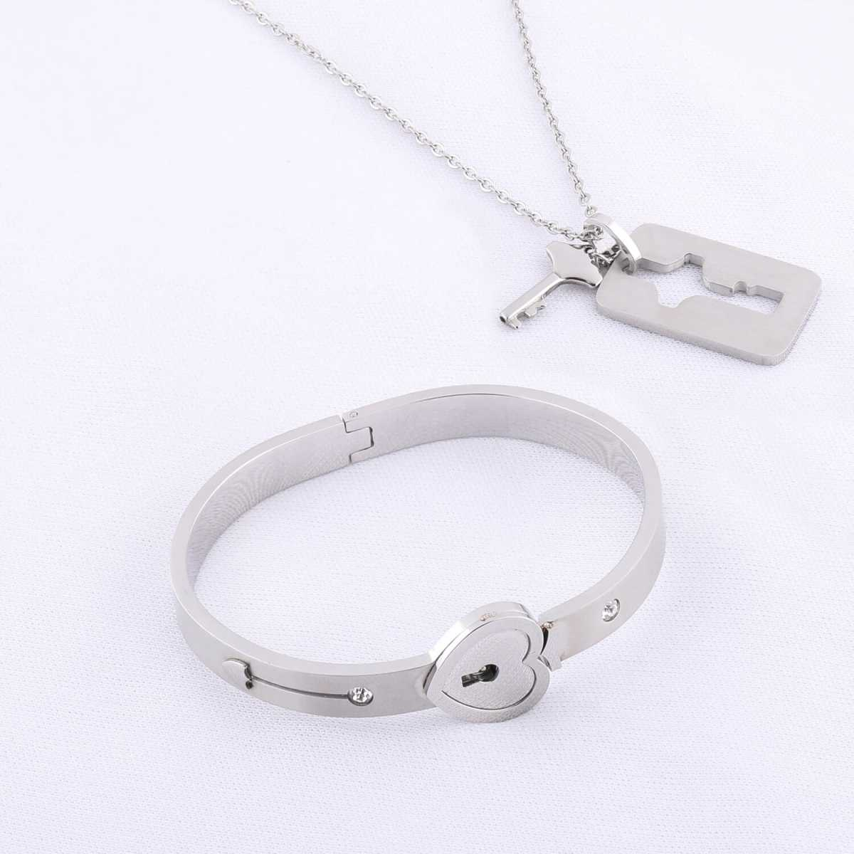Silver Shine Classic Design Heart Lock and Key Stainless Steel Couple Bracelet &  Nacklace Set for Couples Men and Women