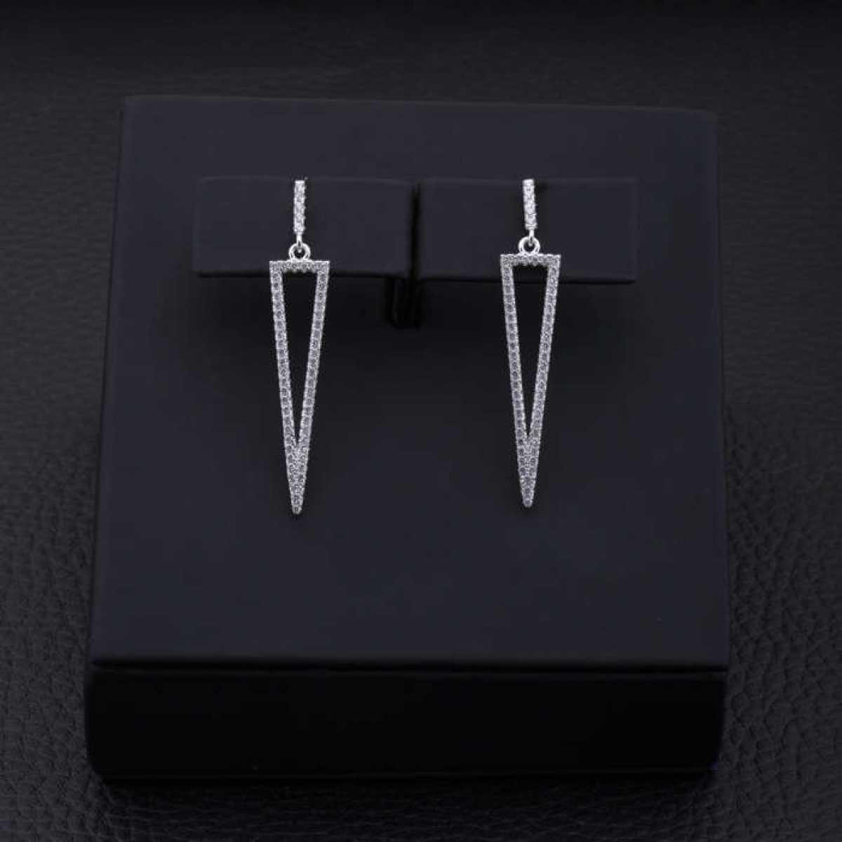 Silver Long Triangle Stud Earring
