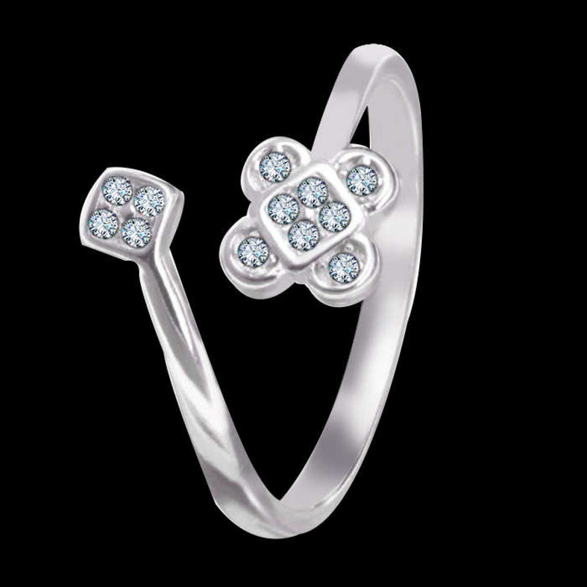Flower leaf Diamond Silver Ring